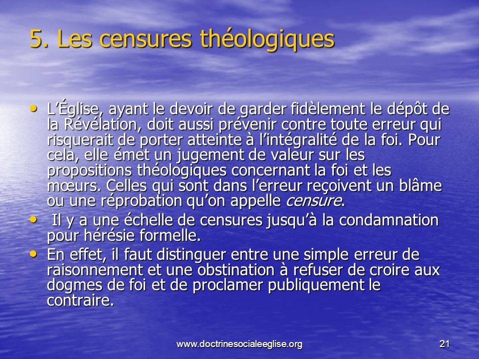 5. Les censures théologiques