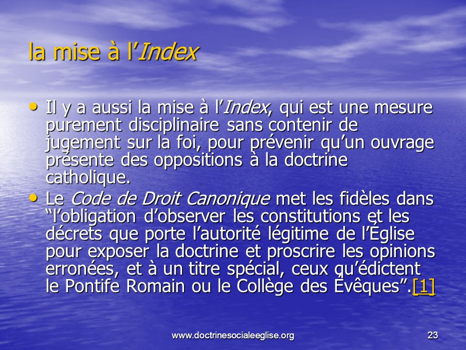 la mise à l'Index