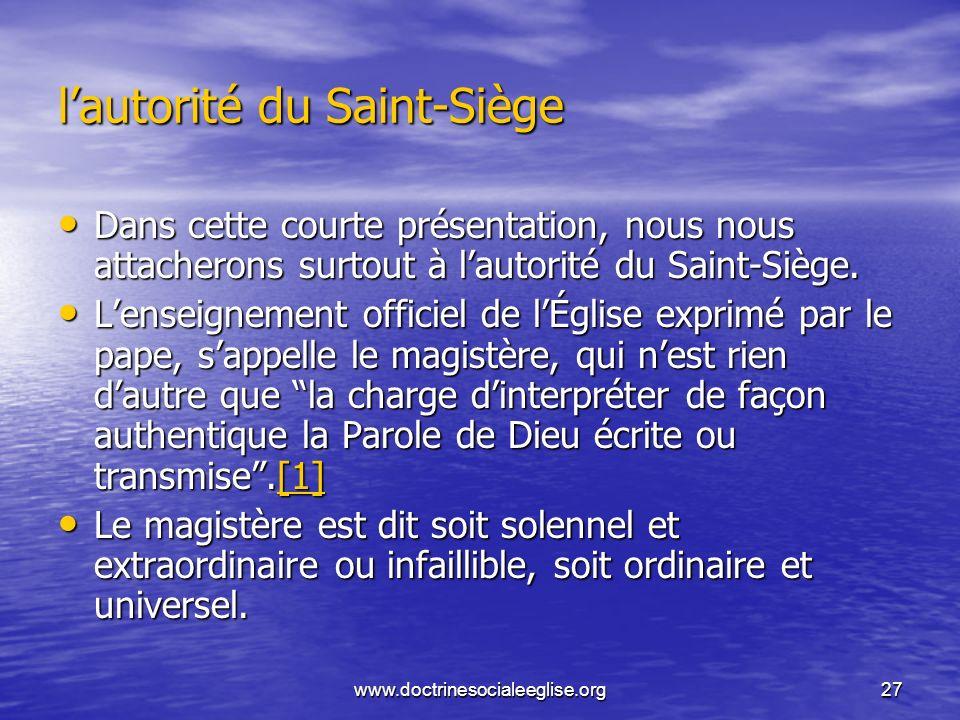 l'autorité du Saint-Siège