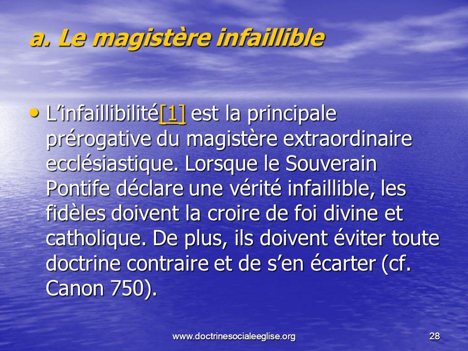 a. Le magistère infaillible