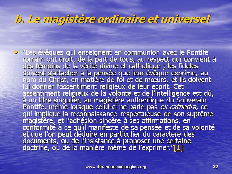 b. Le magistère ordinaire et universel