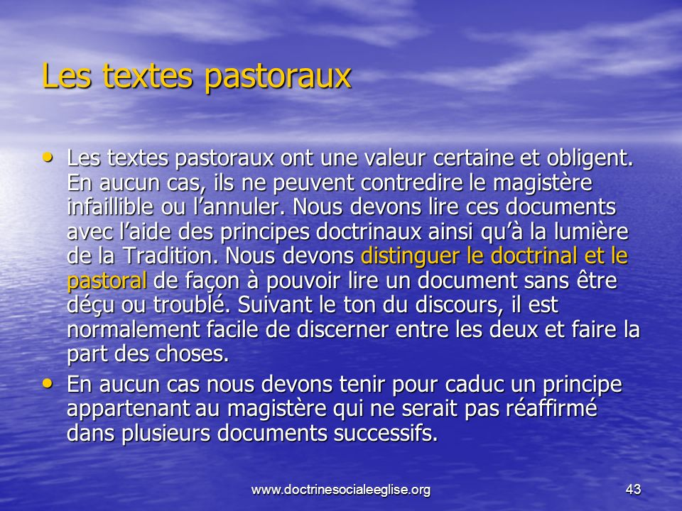 Les textes pastoraux