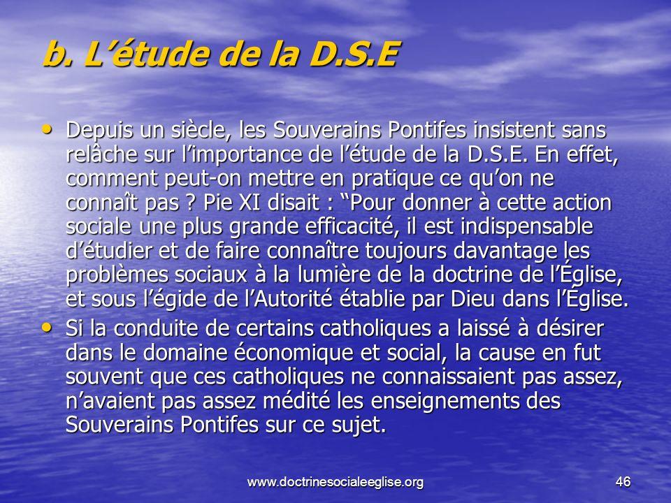 b. L'étude de la D.S.E