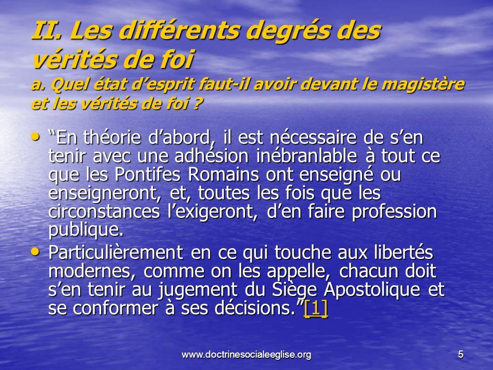 II. Les différents degrés des vérités de foi a