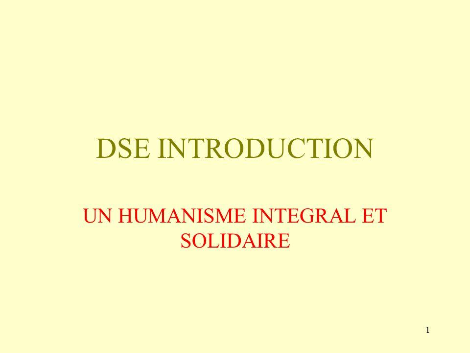 UN HUMANISME INTEGRAL ET SOLIDAIRE