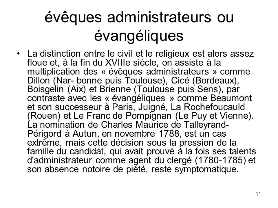 évêques administrateurs ou évangéliques