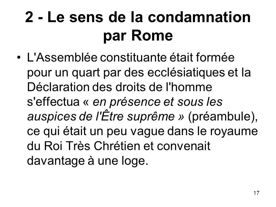 2 - Le sens de la condamnation par Rome