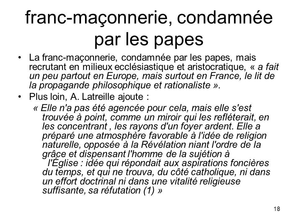 franc-maçonnerie, condamnée par les papes