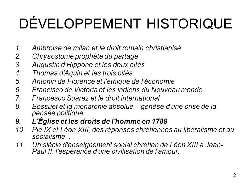 DÉVELOPPEMENT HISTORIQUE