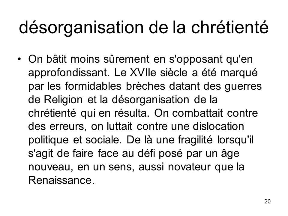 désorganisation de la chrétienté