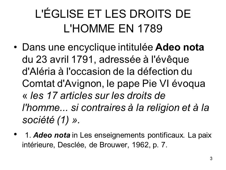 L ÉGLISE ET LES DROITS DE L HOMME EN 1789