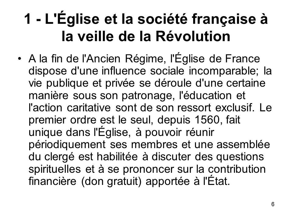1 - L Église et la société française à la veille de la Révolution