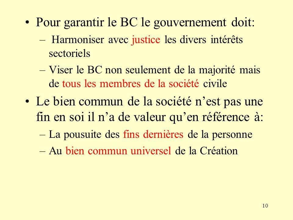 Pour garantir le BC le gouvernement doit: