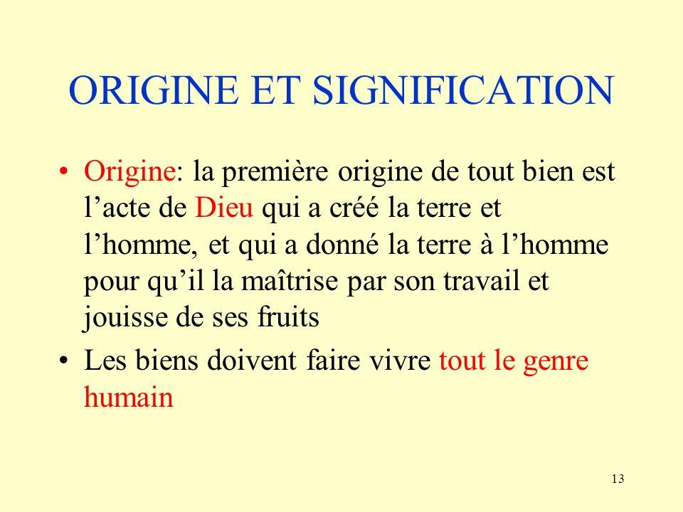 ORIGINE ET SIGNIFICATION