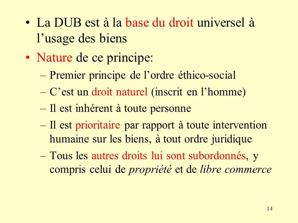 La DUB est à la base du droit universel à l'usage des biens
