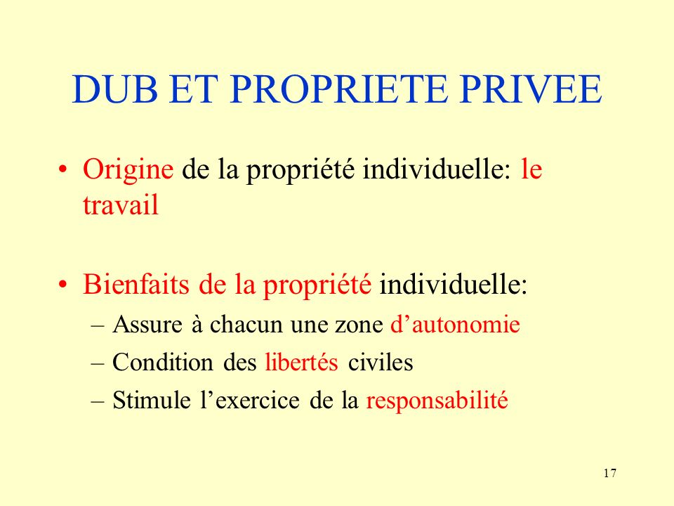 DUB ET PROPRIETE PRIVEE