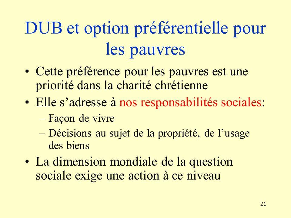 DUB et option préférentielle pour les pauvres