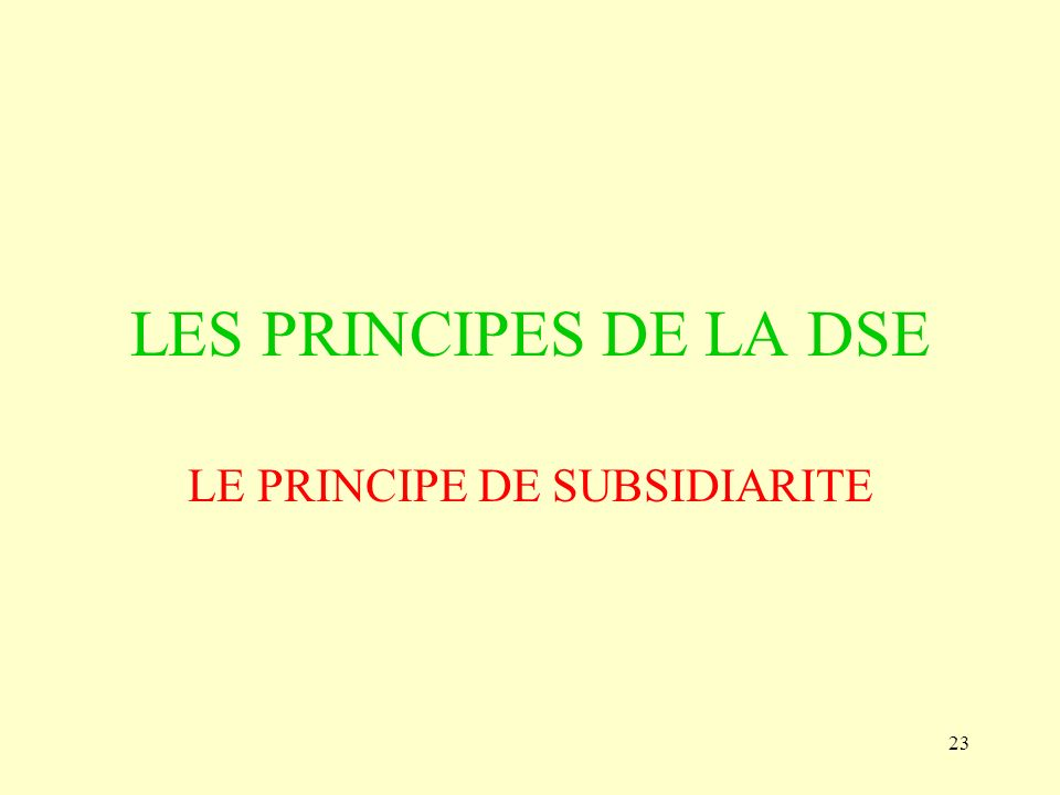 LE PRINCIPE DE SUBSIDIARITE