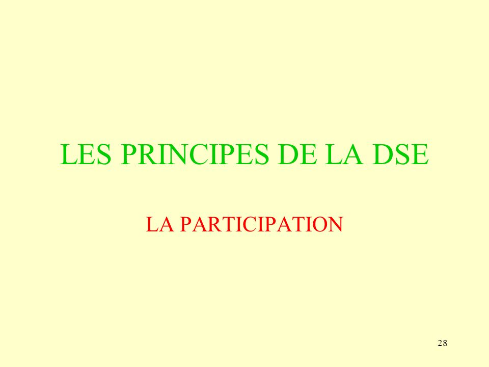 LES PRINCIPES DE LA DSE LA PARTICIPATION