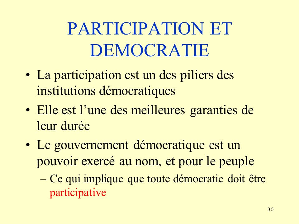 PARTICIPATION ET DEMOCRATIE