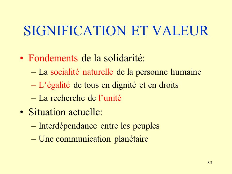 SIGNIFICATION ET VALEUR