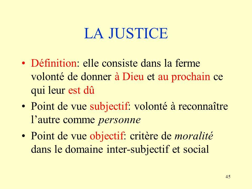 LA JUSTICE Définition: elle consiste dans la ferme volonté de donner à Dieu et au prochain ce qui leur est dû.