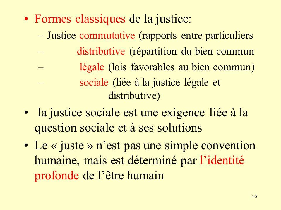 Formes classiques de la justice: