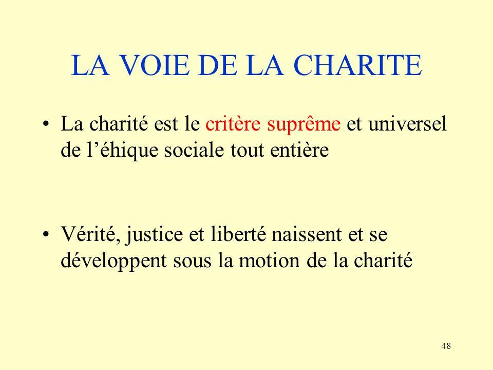 LA VOIE DE LA CHARITE La charité est le critère suprême et universel de l'éhique sociale tout entière.