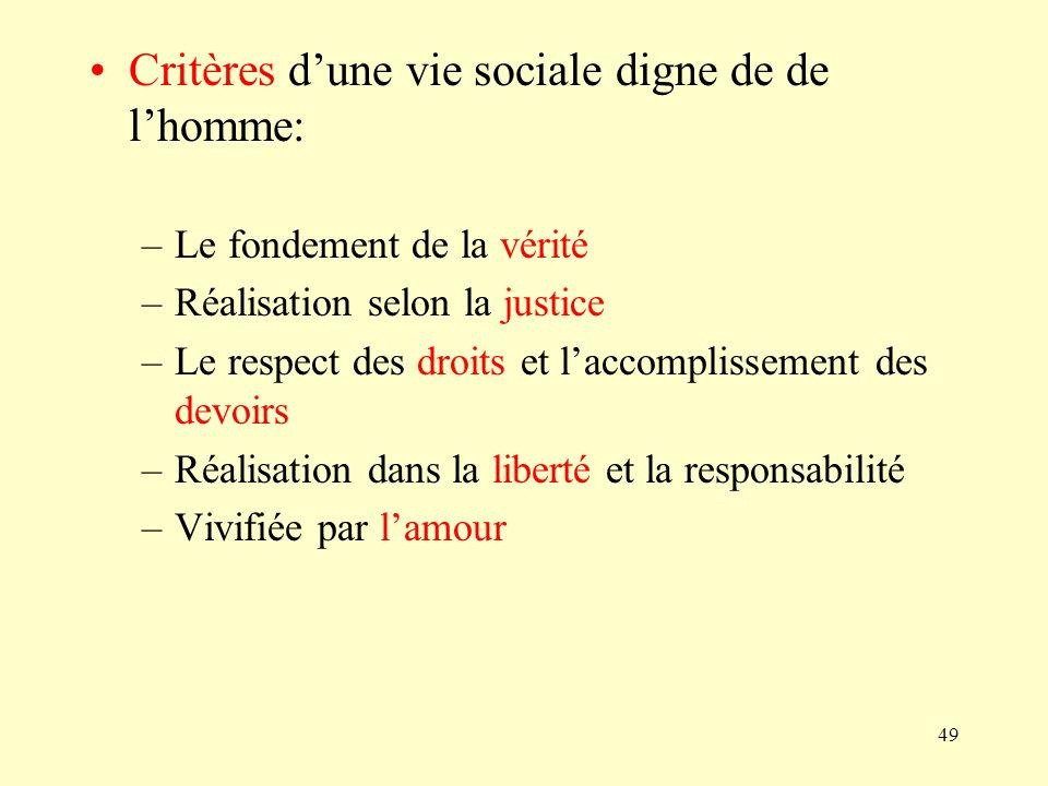 Critères d'une vie sociale digne de de l'homme: