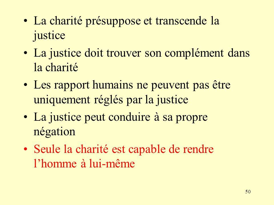 La charité présuppose et transcende la justice