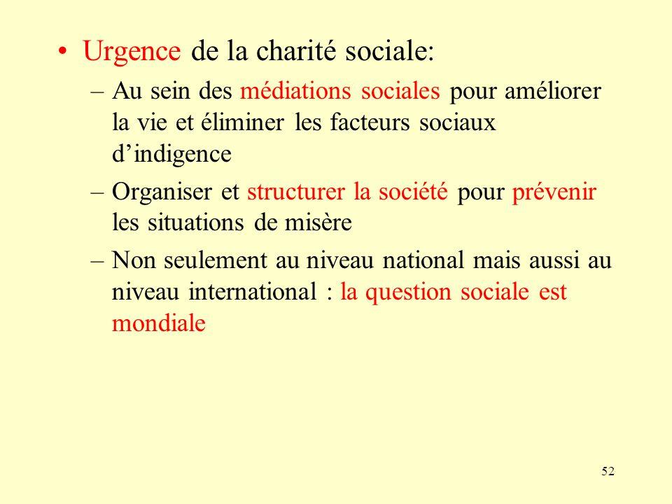 Urgence de la charité sociale: