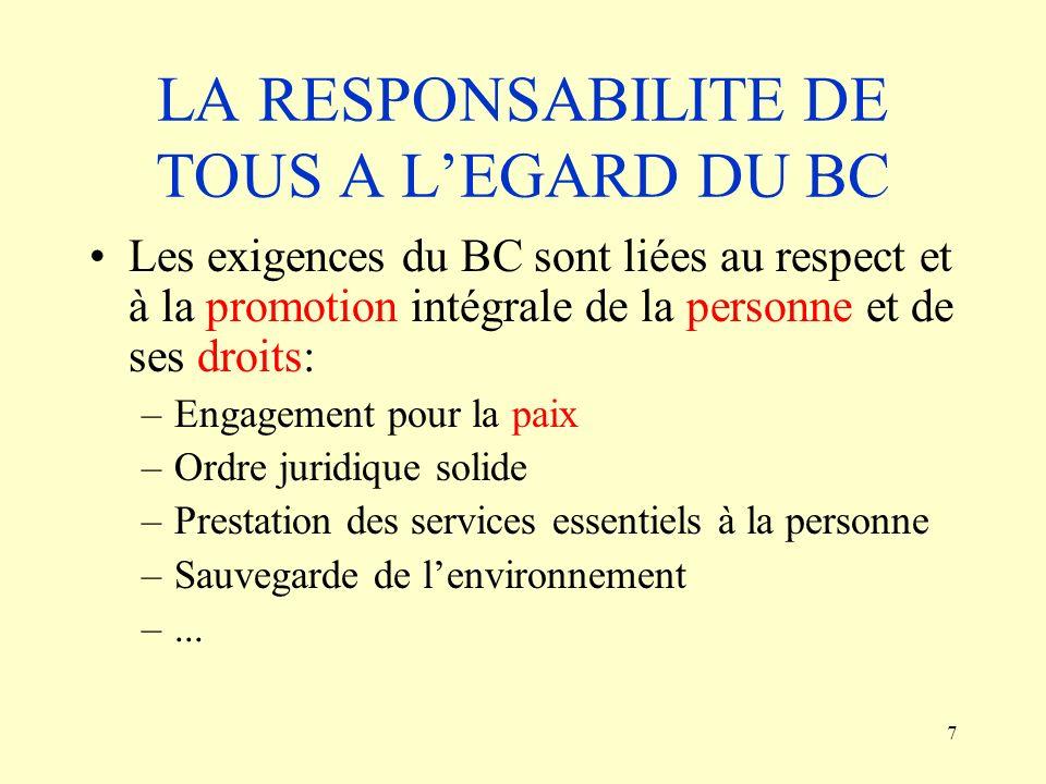 LA RESPONSABILITE DE TOUS A L'EGARD DU BC