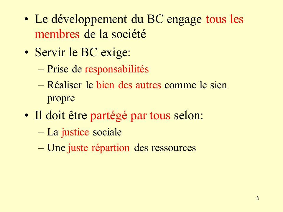 Le développement du BC engage tous les membres de la société