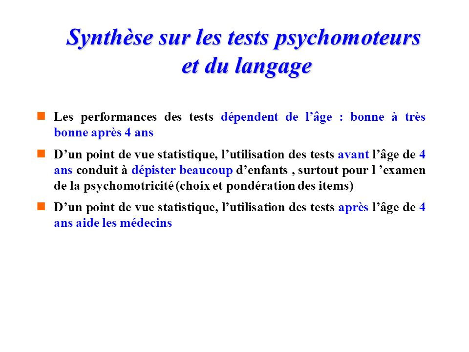 Synthèse sur les tests psychomoteurs