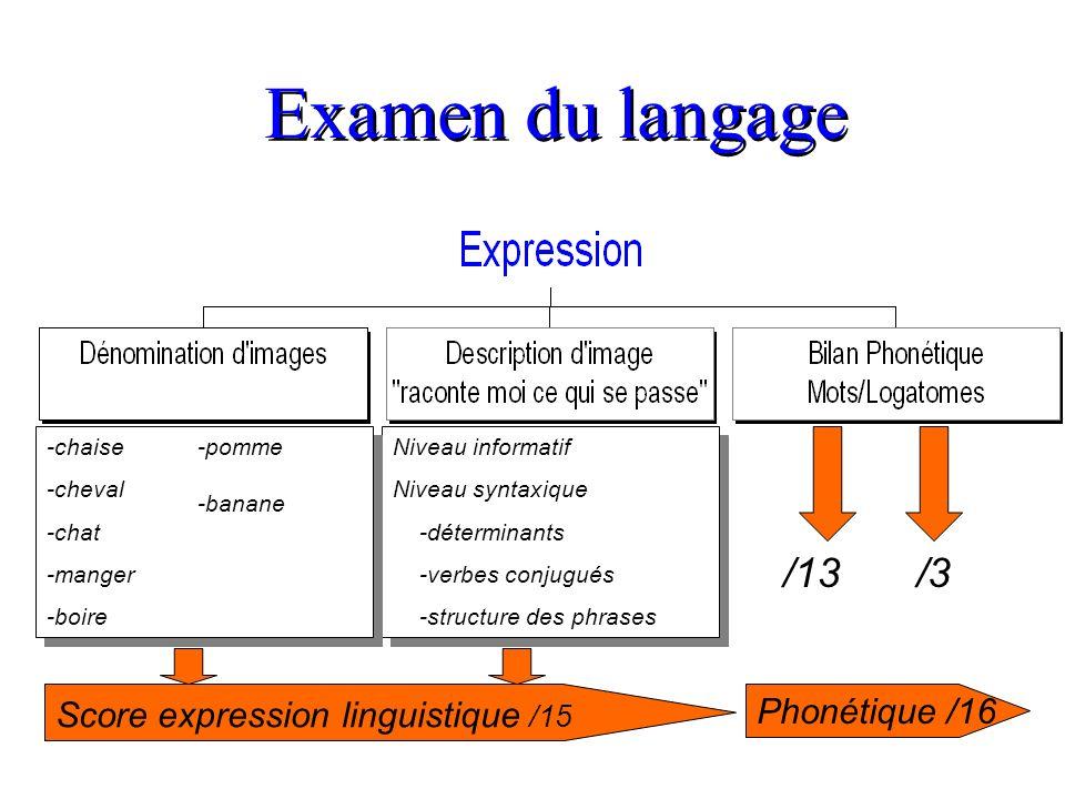 Examen du langage /13 /3 Score expression linguistique /15