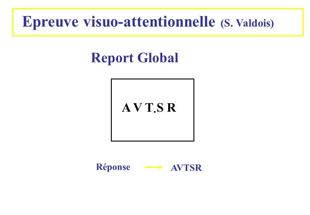 . Epreuve visuo-attentionnelle (S. Valdois) Report Global A V T S R