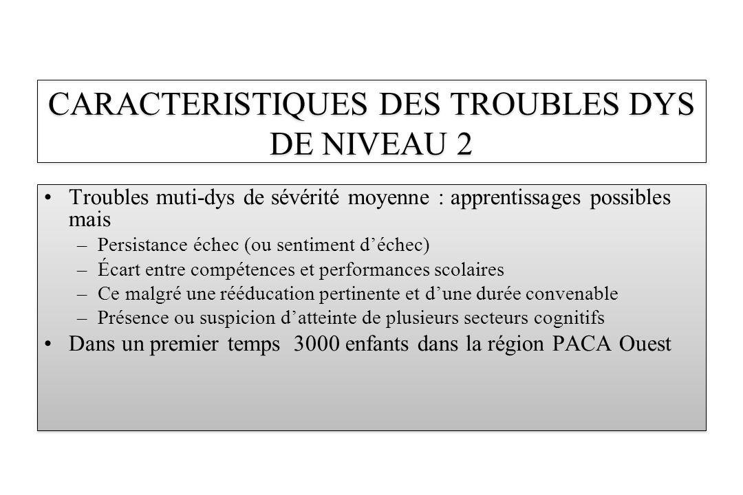 CARACTERISTIQUES DES TROUBLES DYS DE NIVEAU 2
