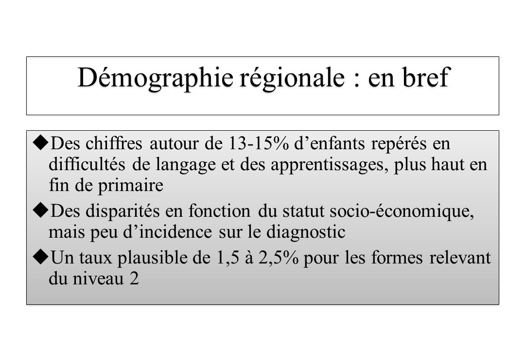 Démographie régionale : en bref