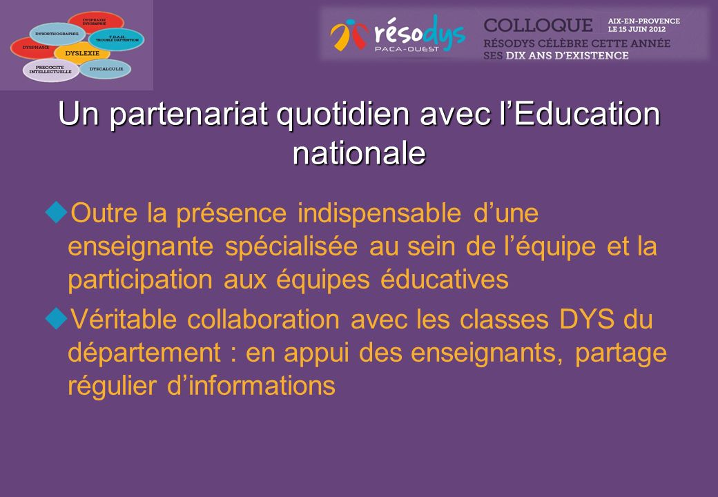 Un partenariat quotidien avec l'Education nationale