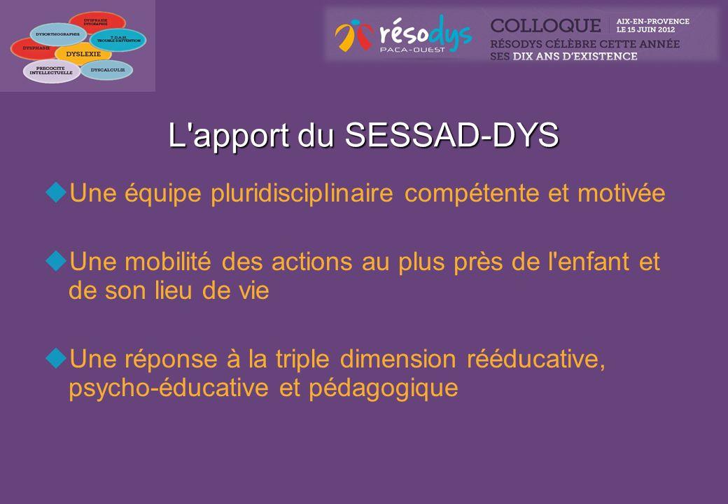 L apport du SESSAD-DYS Une équipe pluridisciplinaire compétente et motivée. Une mobilité des actions au plus près de l enfant et de son lieu de vie.