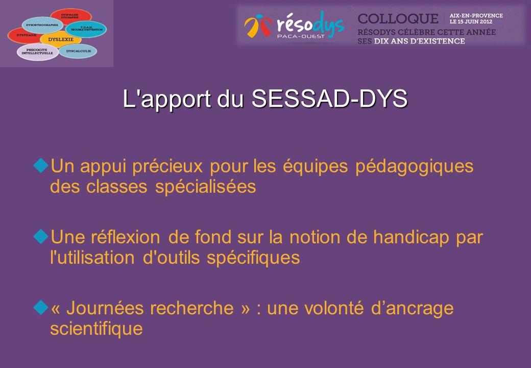 L apport du SESSAD-DYS Un appui précieux pour les équipes pédagogiques des classes spécialisées.