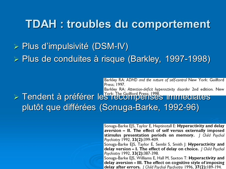 TDAH : troubles du comportement