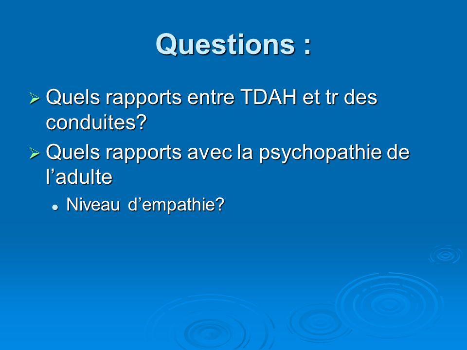 Questions : Quels rapports entre TDAH et tr des conduites