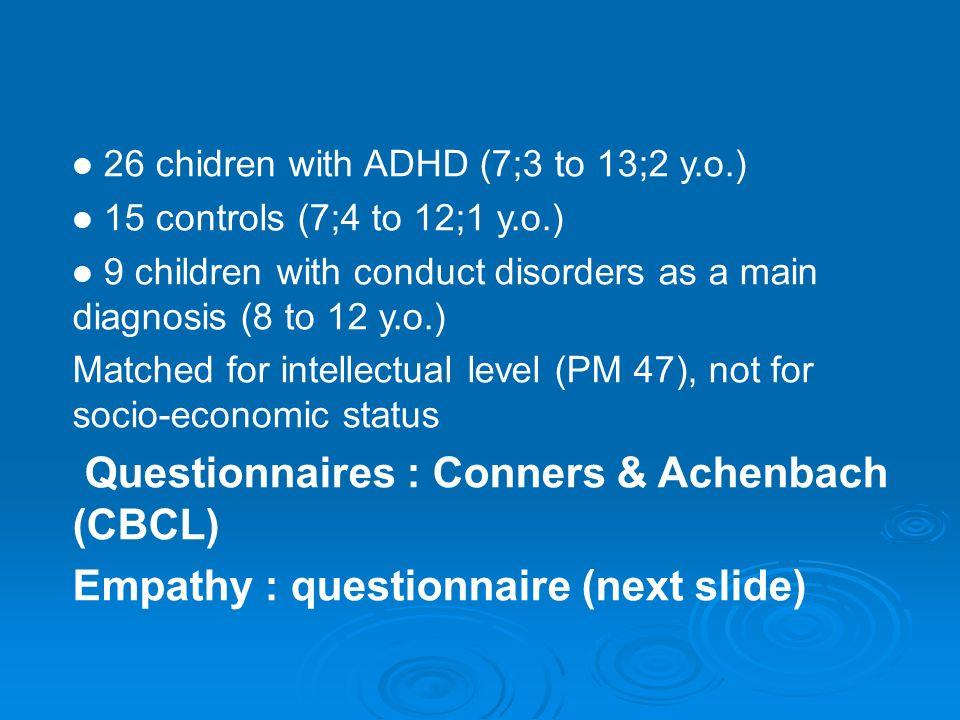Questionnaires : Conners & Achenbach (CBCL)