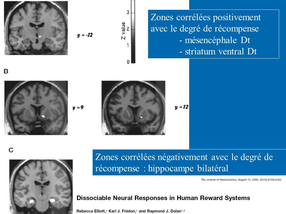 Zones corrélées positivement avec le degré de récompense