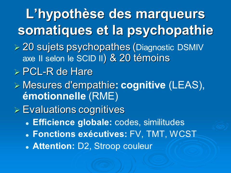L'hypothèse des marqueurs somatiques et la psychopathie