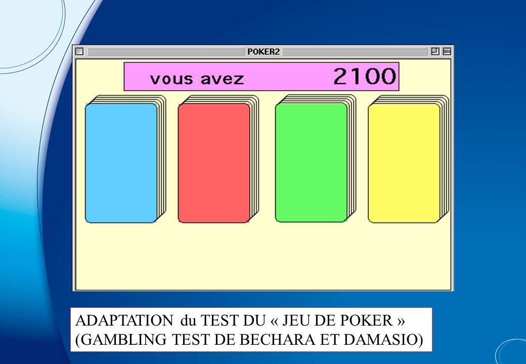ADAPTATION du TEST DU « JEU DE POKER »