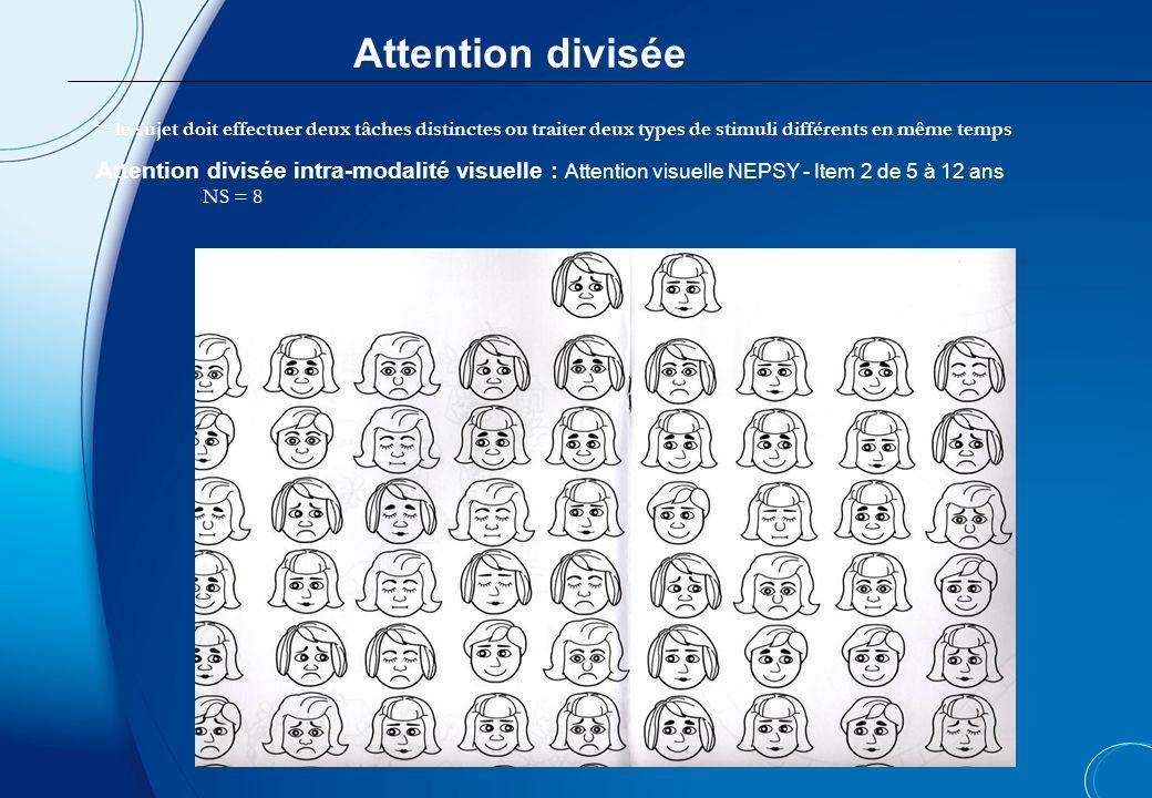 Attention divisée= le sujet doit effectuer deux tâches distinctes ou traiter deux types de stimuli différents en même temps.