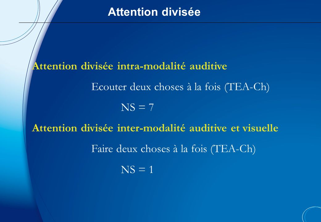 Attention divisée Attention divisée intra-modalité auditive. Ecouter deux choses à la fois (TEA-Ch)