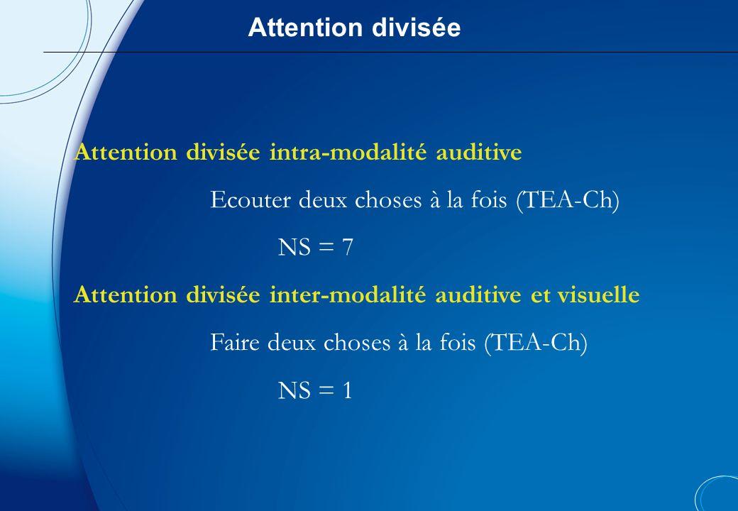 Attention diviséeAttention divisée intra-modalité auditive. Ecouter deux choses à la fois (TEA-Ch) NS = 7.